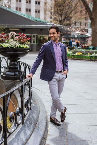 How to wear: navy blazer, purple gingham long sleeve shirt, grey chinos, dark brown leather loafers
