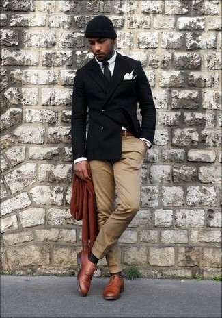 How To Wear Khaki Chinos With a Black Blazer | Men's Fashion