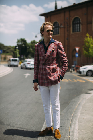 How to wear: red plaid blazer, navy long sleeve shirt, white chinos, tobacco suede tassel loafers