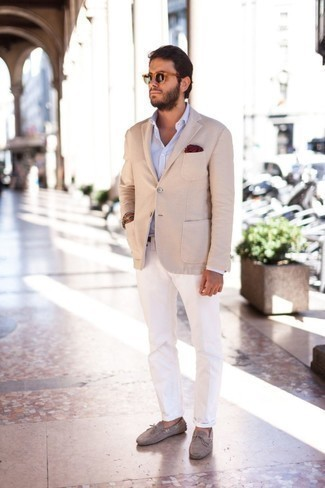 How to Wear a Light Blue Long Sleeve Shirt For Men: If you use a more casual approach to styling, why not choose a light blue long sleeve shirt and white chinos? If you're hesitant about how to round off, complete this look with grey suede driving shoes.
