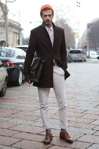 How to wear: dark brown wool blazer, pink long sleeve shirt, white chinos, brown leather derby shoes