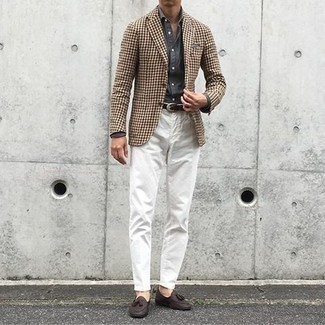 How to Wear Dark Brown Leather Tassel Loafers: This pairing of a brown houndstooth blazer and white chinos is hard proof that a pared down ensemble can still be truly stylish. Tap into some David Beckham stylishness and lift up your look with dark brown leather tassel loafers.
