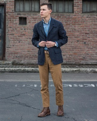 Light Blue Chambray Long Sleeve Shirt Outfits For Men: This laid-back combo of a light blue chambray long sleeve shirt and khaki chinos is a foolproof option when you need to look good but have no time. Complement this look with a pair of dark brown leather casual boots to easily dial up the fashion factor of any outfit.