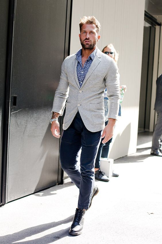 How To Wear a Grey Wool Blazer With Navy Chinos | Men's Fashion