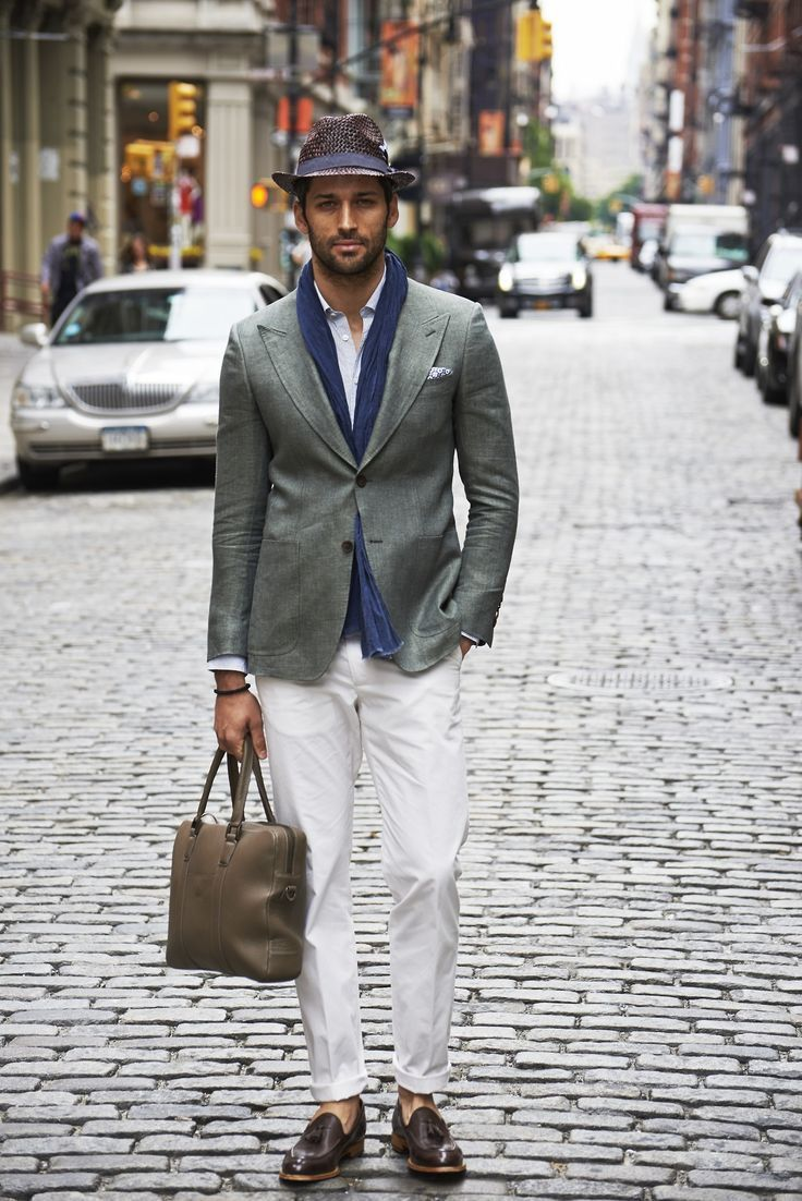 Men's Grey Blazer, Light Blue Long Sleeve Shirt, White Chinos ...