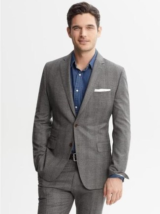 How to wear: grey plaid blazer, blue long sleeve shirt, grey dress pants, white pocket square