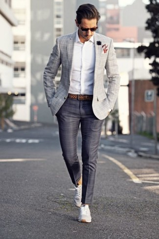 How to wear: grey plaid blazer, white long sleeve shirt, charcoal plaid dress pants, grey low top sneakers