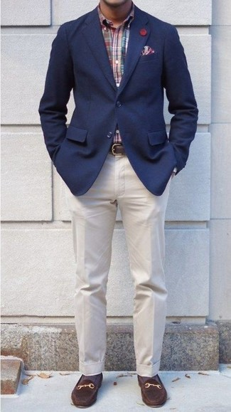 How to wear: navy blazer, multi colored plaid long sleeve shirt, beige dress pants, dark brown suede loafers