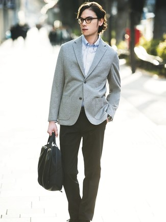 How to wear: grey knit blazer, light blue long sleeve shirt, black dress pants, black canvas briefcase