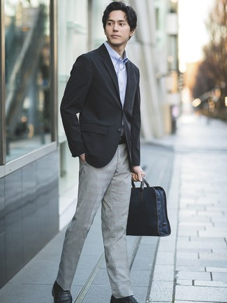 How to wear: black blazer, light blue long sleeve shirt, grey plaid dress pants, black leather loafers