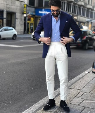 How to wear: navy blazer, light blue long sleeve shirt, white dress pants, black suede loafers