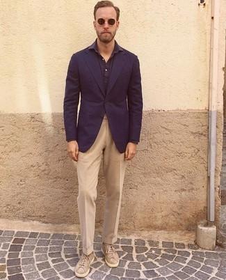 How to wear: navy blazer, navy long sleeve shirt, khaki dress pants, beige suede low top sneakers