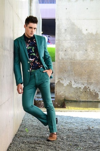How to wear: teal blazer, navy print long sleeve shirt, teal dress pants, brown leather oxford shoes