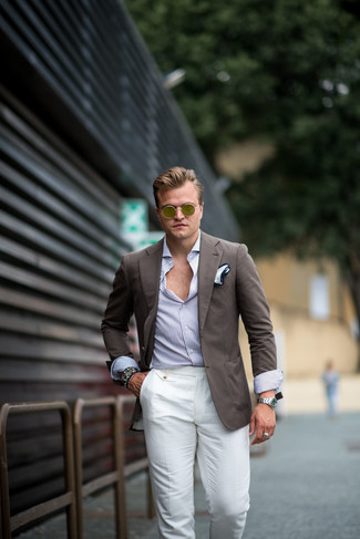 How to wear: brown blazer, white and blue vertical striped long sleeve shirt, white linen dress pants, white pocket square