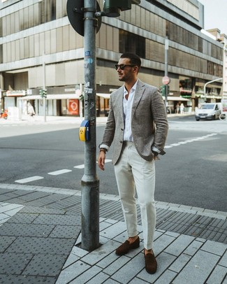 How to wear: grey wool blazer, white long sleeve shirt, white dress pants, dark brown suede loafers