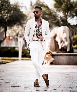 How to wear: white blazer, white print long sleeve shirt, white dress pants, dark brown suede tassel loafers