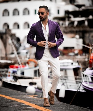 How to wear: violet blazer, white long sleeve shirt, white dress pants, brown suede tassel loafers