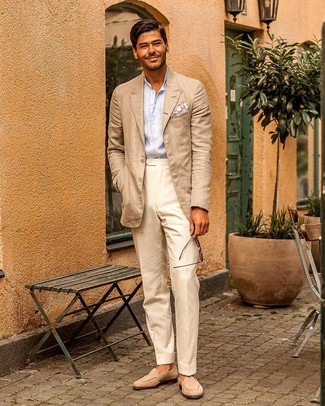 How to Wear Beige Dress Pants For Men: Putting together a beige blazer and beige dress pants is a fail-safe way to inject your styling repertoire with some manly refinement. Beige suede loafers are the ideal addition for this look.