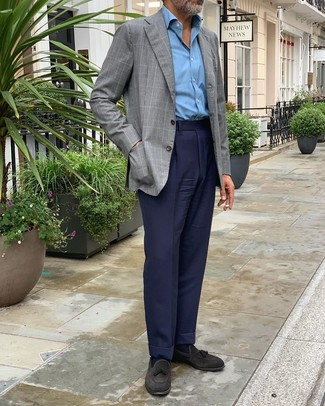 How to Wear Black Suede Tassel Loafers: We're loving the way this pairing of a grey check blazer and navy dress pants instantly makes men look polished and dapper. If not sure about what to wear on the shoe front, add a pair of black suede tassel loafers to the equation.