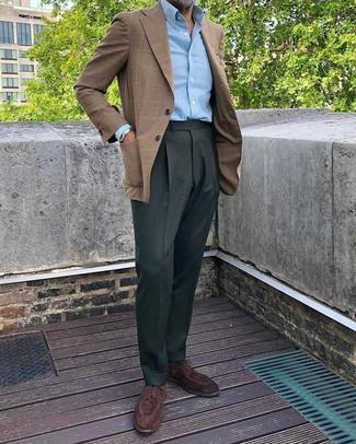How to Wear Dark Green Dress Pants For Men: Pairing a brown plaid blazer and dark green dress pants is a guaranteed way to infuse rugged sophistication into your wardrobe. Dark brown suede derby shoes are sure to leave the kind of impression you want to give.