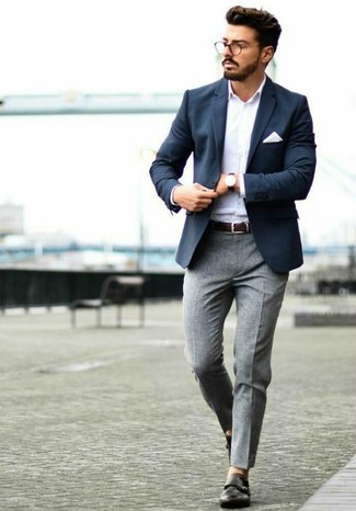 How to wear: navy blazer, white long sleeve shirt, grey wool dress pants, black leather double monks