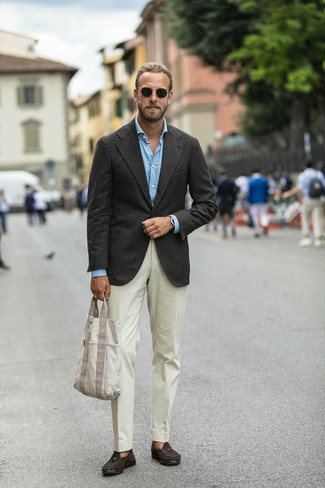 How to wear: dark brown blazer, light blue long sleeve shirt, beige dress pants, dark brown suede tassel loafers