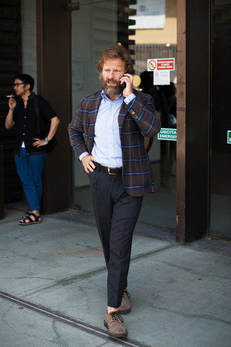 How to Wear a Dark Brown Plaid Blazer For Men: This combination of a dark brown plaid blazer and charcoal dress pants is a winning option when you need to look like a connoisseur of men's fashion. Introduce brown suede derby shoes to the equation et voila, this look is complete.