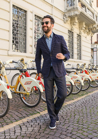 How to Wear Charcoal Dress Pants For Men: Putting together a navy horizontal striped blazer with charcoal dress pants is a good idea for a dapper and refined look. Go off the beaten path and switch up your look by finishing with a pair of navy suede low top sneakers.