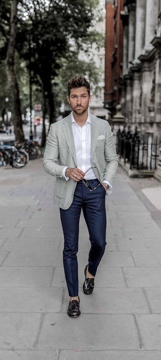 Men's Looks & Outfits: What To Wear In 2020: Reach for a grey blazer and navy vertical striped dress pants for incredibly classic attire. If you don't know how to round off, add dark purple leather tassel loafers to the equation.