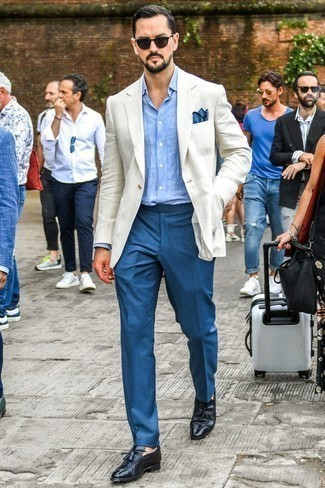 How to Wear Black Leather Tassel Loafers: This refined pairing of a white linen blazer and blue dress pants is a common choice among the stylish chaps. If you don't know how to finish off, a pair of black leather tassel loafers is a winning option.