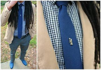How to wear: tan cotton blazer, white and blue gingham long sleeve shirt, grey dress pants, blue derby shoes