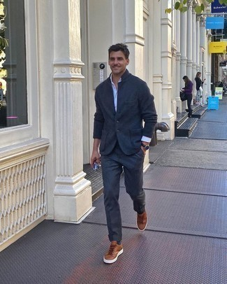 White Long Sleeve Shirt Outfits For Men: Consider teaming a white long sleeve shirt with charcoal dress pants - this look is bound to make heads turn. Send this outfit in a more informal direction by finishing with brown leather low top sneakers.