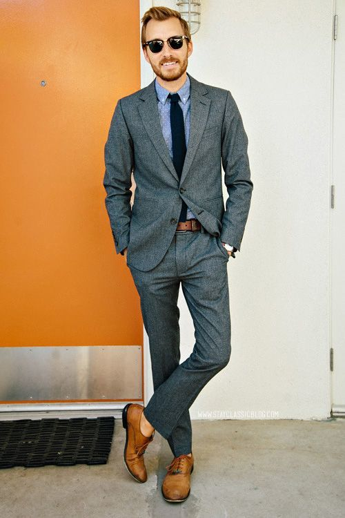 How To Wear A Charcoal Blazer With A Brown Leather Belt For Men 107