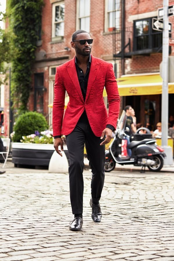 Go For A Classic Style In Red Suit Jacket And Black Pants