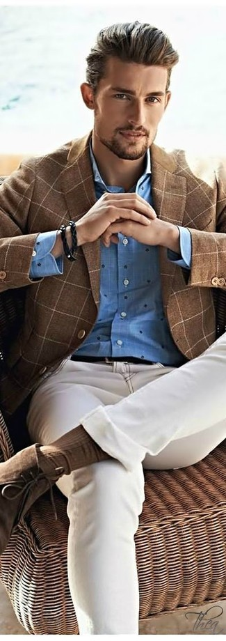 How to wear: brown check wool blazer, blue polka dot long sleeve shirt, beige jeans, brown suede desert boots