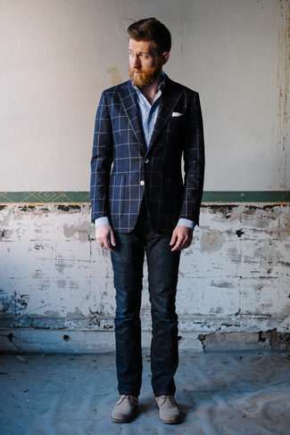 Try teaming a dark blue check sportcoat with navy jeans to achieve a dressy but not too dressy look. Complement this look with grey suede desert boots.