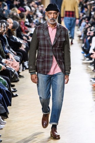 How to wear: burgundy check wool blazer, pink long sleeve shirt, blue jeans, brown leather brogues