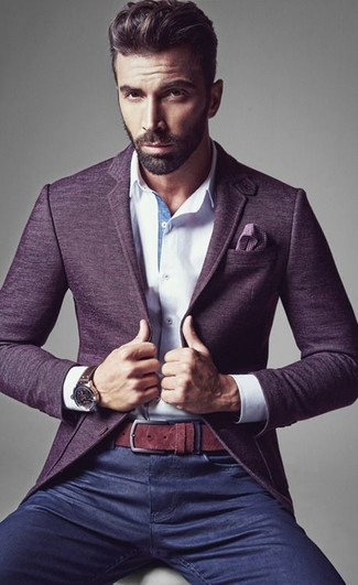 Opt for a violet wool blazer and navy blue jeans for drinks after work.