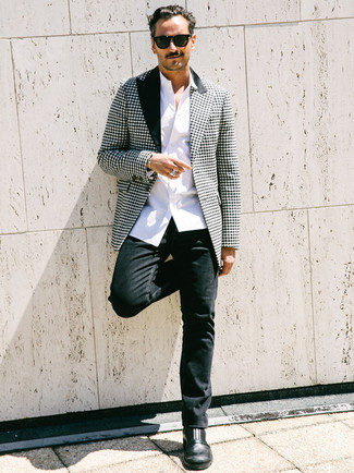 How to wear: black and white houndstooth blazer, white long sleeve shirt, black jeans, black leather chelsea boots