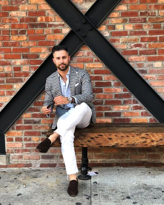 How to wear: black and white gingham blazer, light blue long sleeve shirt, white jeans, dark brown suede loafers