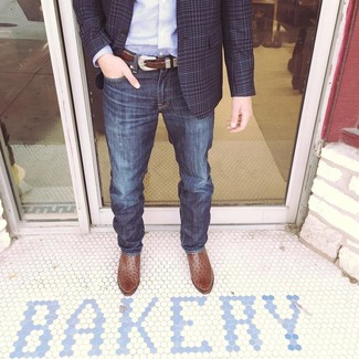 Blazer with Cowboy Boots Outfits For
