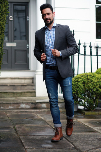 How to Wear Brown Leather Casual Boots For Men: To achieve a casual getup with a contemporary spin, you can always rely on a charcoal blazer and blue ripped jeans. Take a classier approach with shoes and introduce brown leather casual boots to the equation.