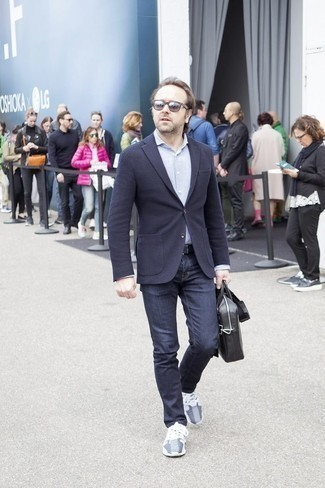 How to Wear a Black Leather Briefcase: For a look that's very easy but can be flaunted in a great deal of different ways, make a navy wool blazer and a black leather briefcase your outfit choice. On the footwear front, this outfit is complemented really well with grey athletic shoes.