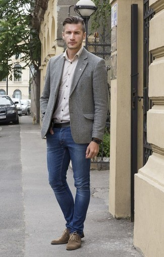 Men's Grey Blazer, White Vertical Striped Long Sleeve Shirt, Blue Jeans, Brown Suede Derby Shoes