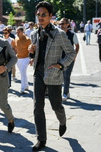 How to Wear a Black and White Bandana For Men: A grey plaid blazer and a black and white bandana are the kind of a foolproof casual ensemble that you so terribly need when you have no extra time. To introduce an extra dimension to this outfit, introduce a pair of black suede chelsea boots to the equation.