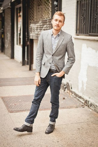 Men's Looks & Outfits: What To Wear In 2020: Make a grey blazer and navy jeans your outfit choice to pull together an effortlessly stylish and modern-looking outfit. If not sure about the footwear, complete this look with charcoal leather casual boots.