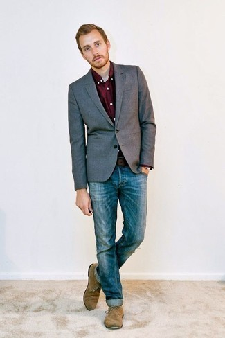 Men's Looks & Outfits: What To Wear In 2020: Team a grey blazer with blue jeans if you're aiming for a sleek, on-trend outfit. Tan suede desert boots integrate nicely within many ensembles.