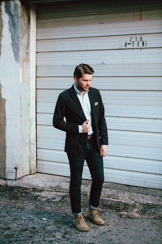 How to Wear a Belt For Men: You'll be amazed at how easy it is for any guy to throw together a modern casual outfit like this. Just a black blazer and a belt. For a modern hi/low mix, introduce a pair of beige suede desert boots to the mix.