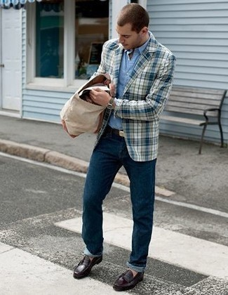 Beige Canvas Tote Bag Outfits For Men: Putting together a white and blue plaid blazer with a beige canvas tote bag is a nice option for a laid-back yet dapper getup. Why not take a classic approach with footwear and choose a pair of burgundy leather loafers?