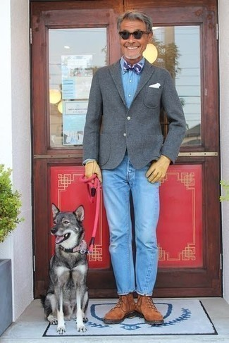 Grey Wool Blazer Outfits For Men: This pairing of a grey wool blazer and light blue jeans falls somewhere between formal and laid-back. A pair of tobacco suede casual boots completes this look very nicely.